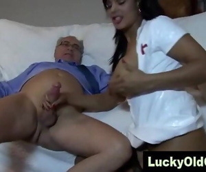 old man fucks Indian chick..